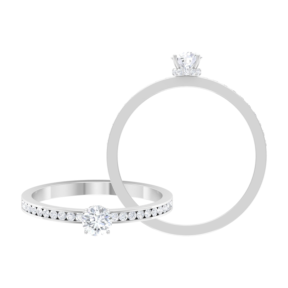 1/2 CT Round Cut Diamond Solitaire Ring with Hidden Halo and Channel Set Side Stones