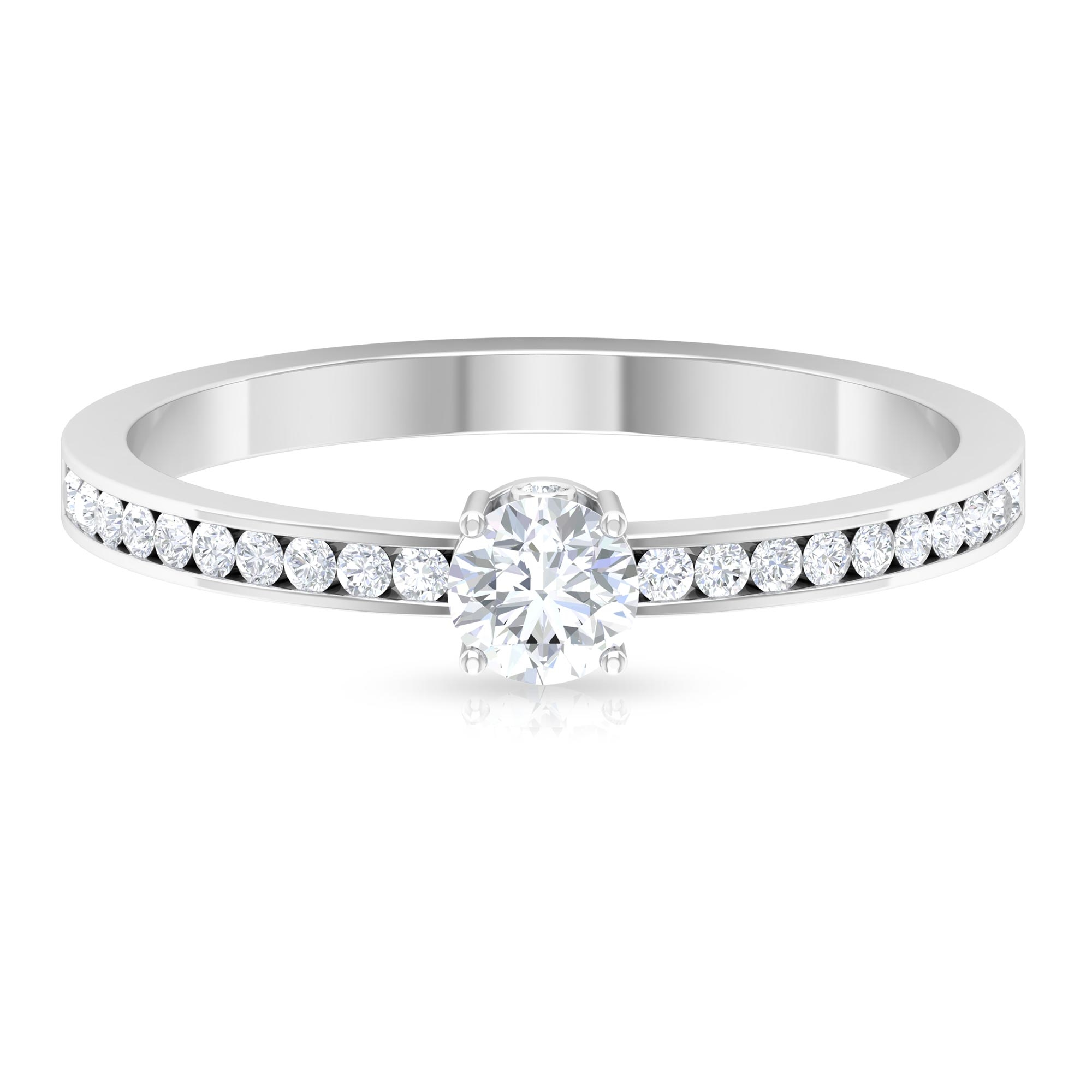1/2 CT Round Cut Diamond Solitaire Ring with Surprise Style Shank and Channel Set Side Stones