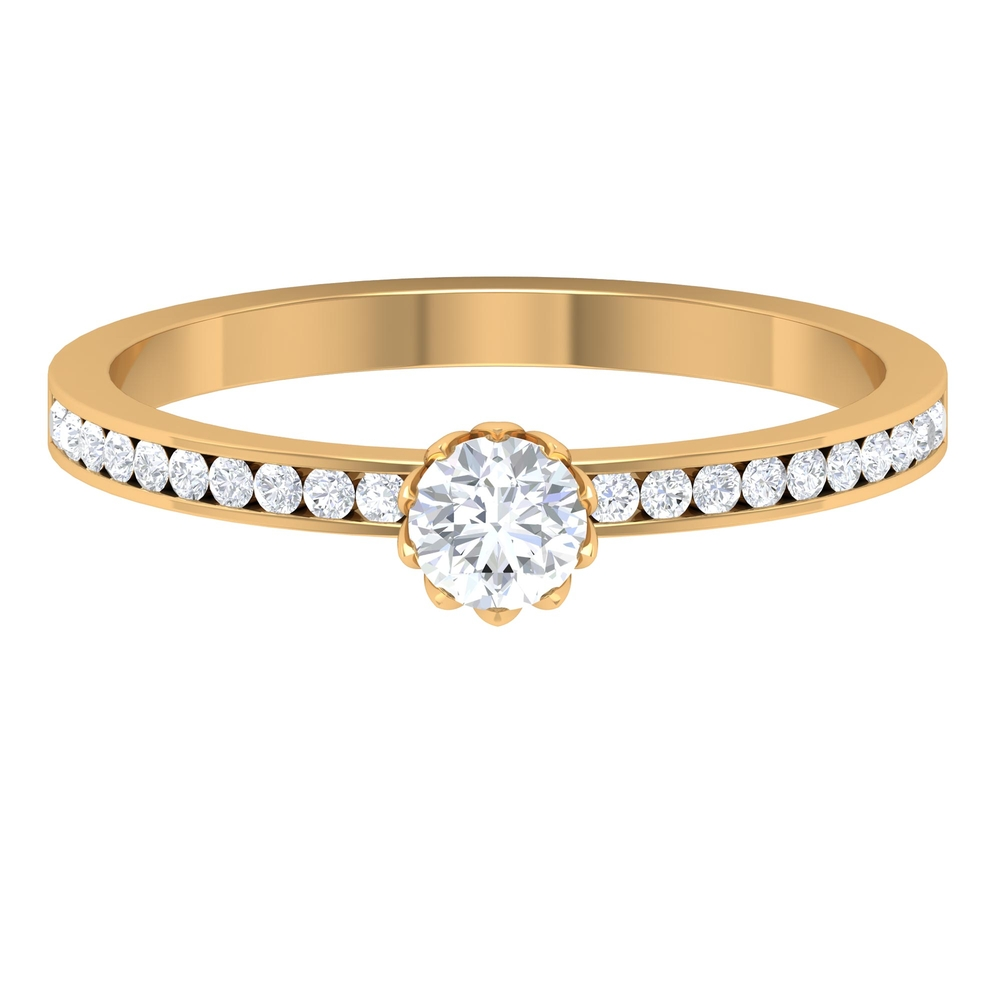 1/2 CT Lotus Basket Set Diamond Solitaire Ring with Channel Set Side Stones