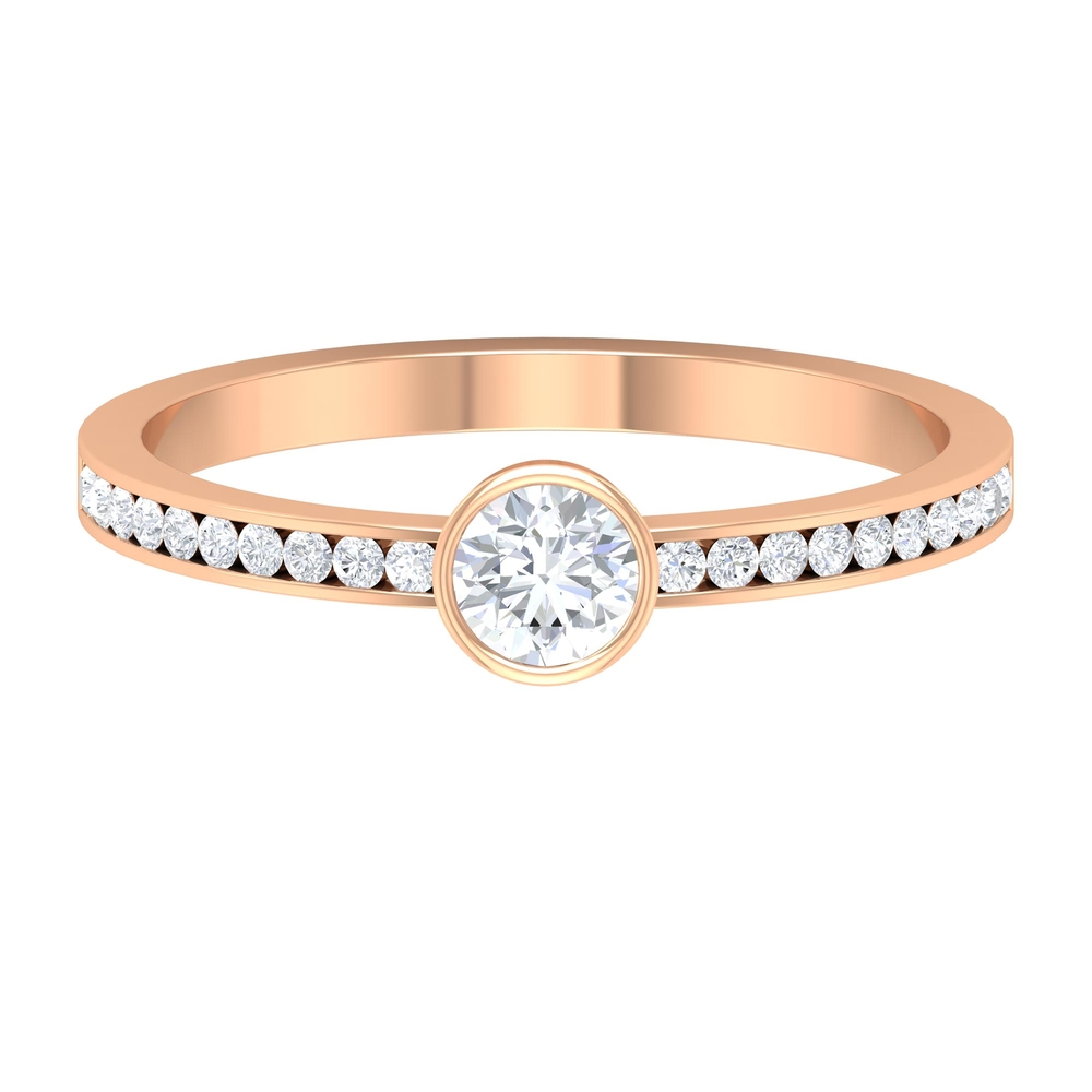 1/2 CT Bezel Set Diamond Solitaire Ring with Channel Set Side Stones
