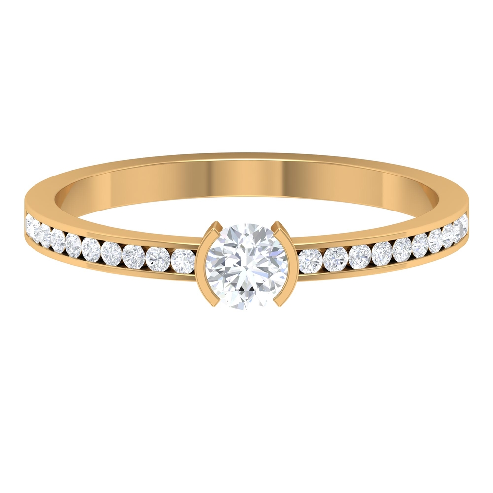 1/2 CT Half Bezel Set Diamond Solitaire Ring with Channel Set Side Stones