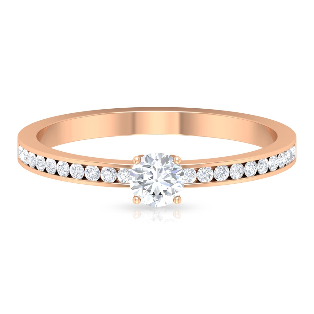 4 MM Round Cut Diamond Solitaire Ring with Channel Set Side Stones
