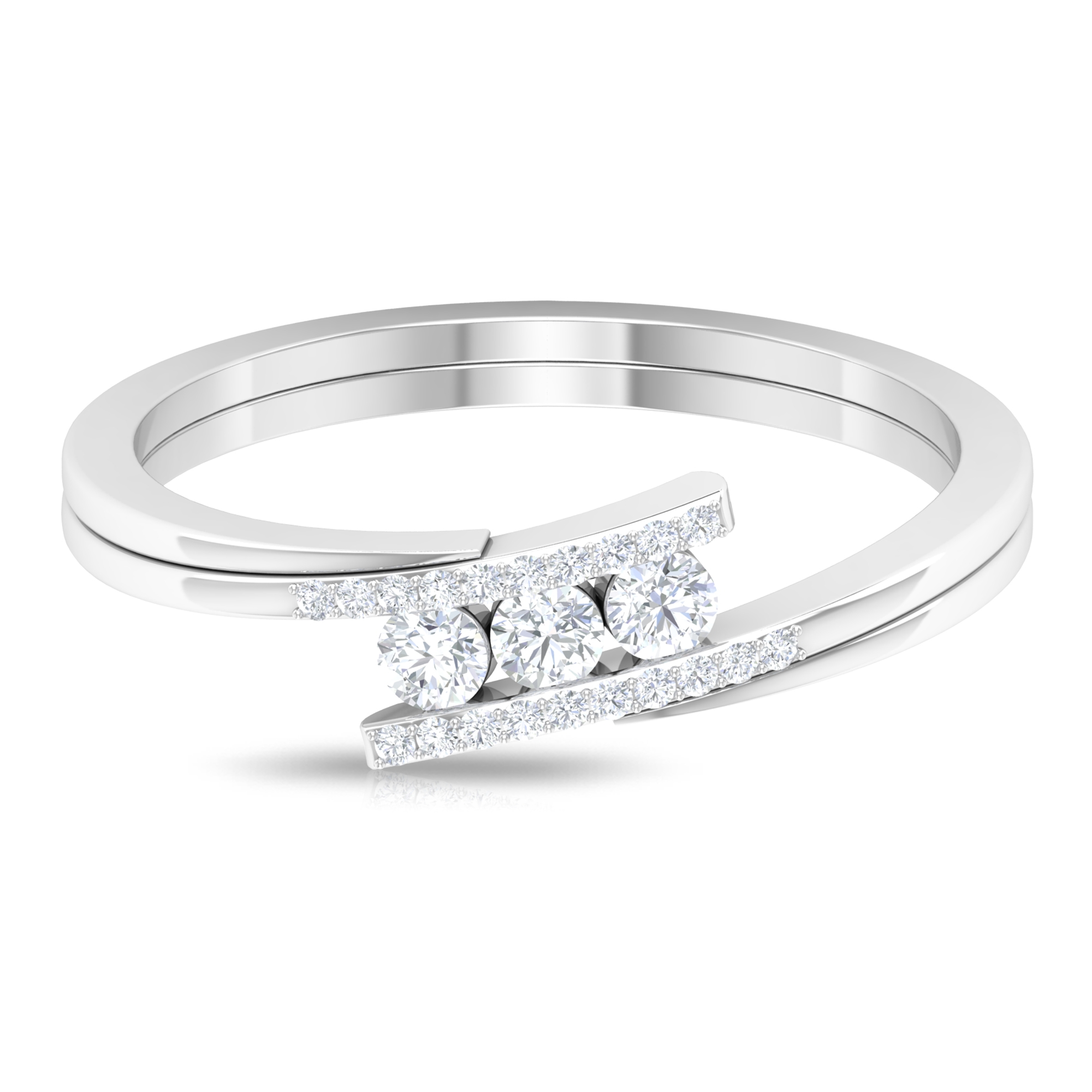 1/4 CT Three Stone Diamond Bypass Ring with Accent