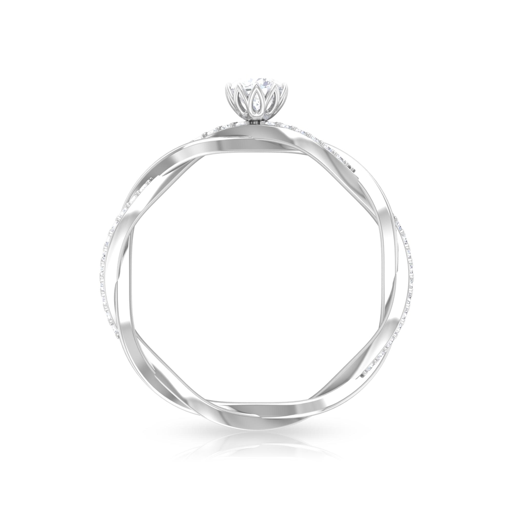 4 MM Round Cut Diamond Braided Solitaire Ring in Lotus Basket Setting