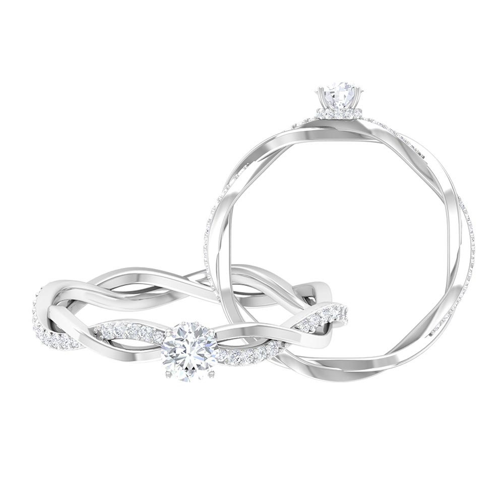 1/2 CT Round Cut Diamond Solitaire Ring with Prong Set and Hidden Halo