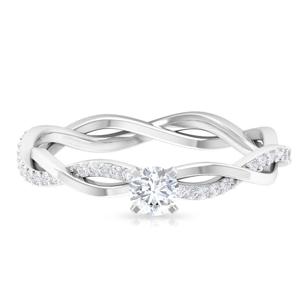 4 MM Round Cut Diamond Braided Solitaire Ring in Square Prong Setting