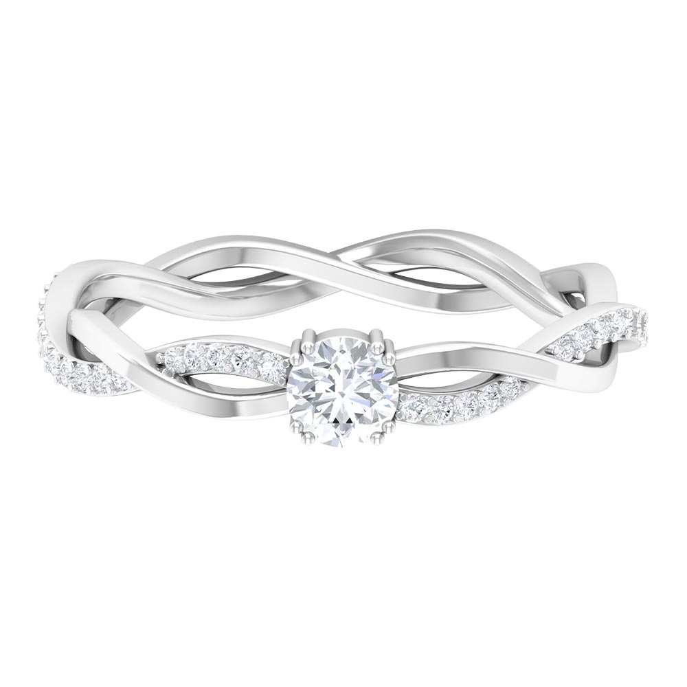 4 MM Round Cut Diamond Braided Solitaire Ring in Double Prong Setting