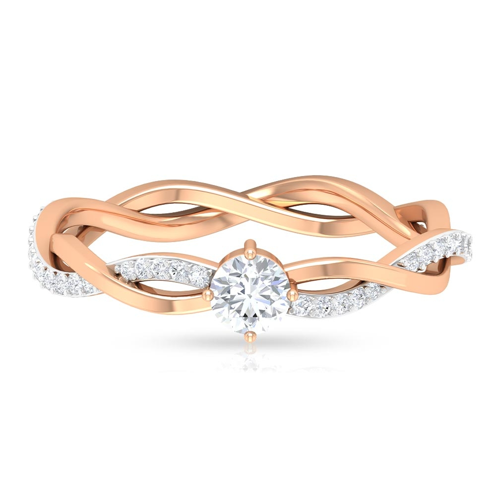 4 MM Round Cut Diamond Braided Solitaire Ring in Diagonal 4 Prong Setting