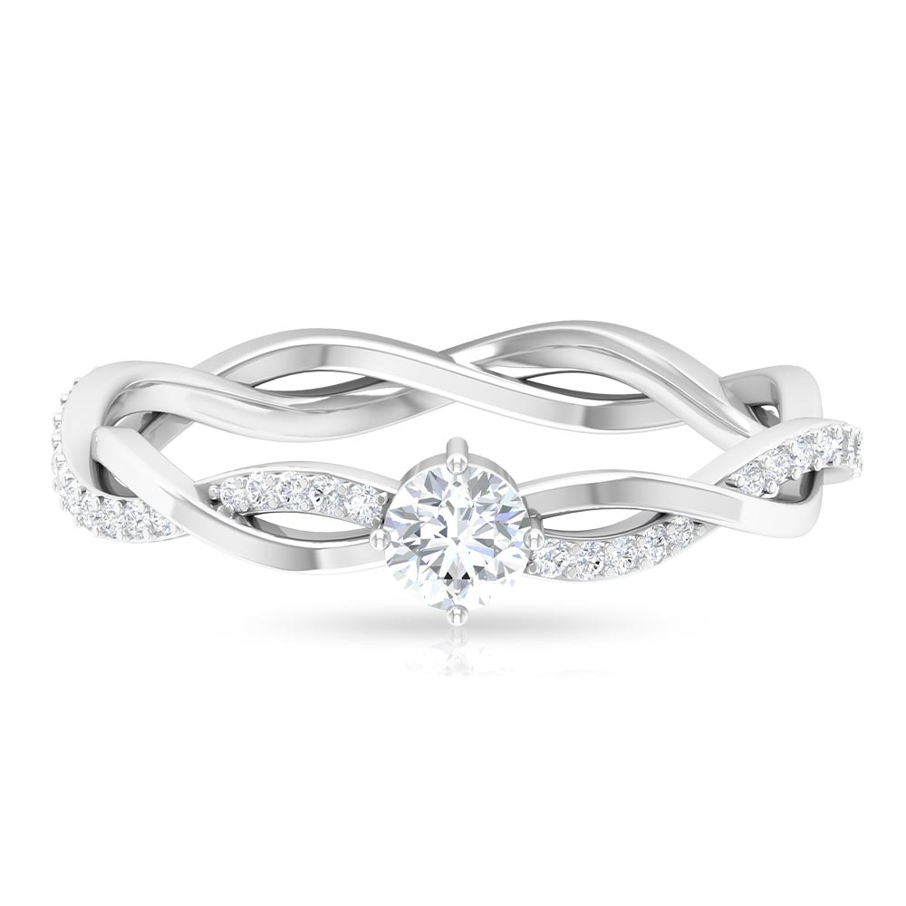 4 MM Round Cut Diamond Braided Solitaire Ring in 6 Prong Setting