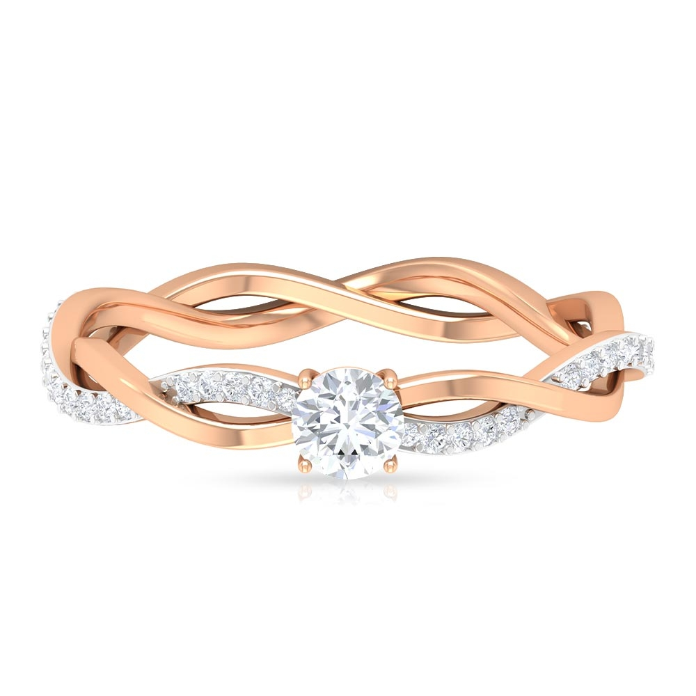 4 MM Round Cut Diamond Braided Solitaire Ring in 4 Prong Setting
