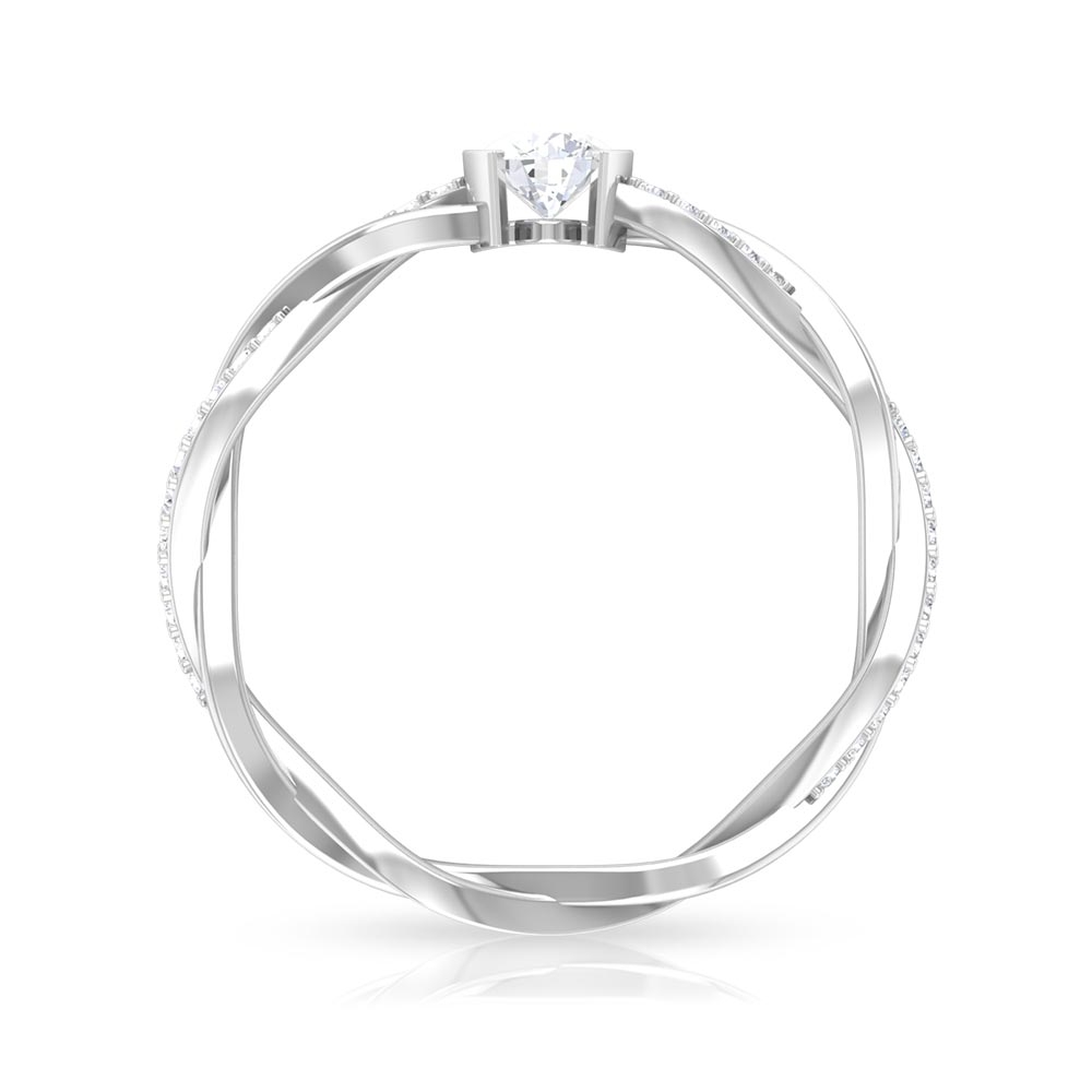 4 MM Round Cut Diamond Braided Solitaire Ring in Half Bezel Setting