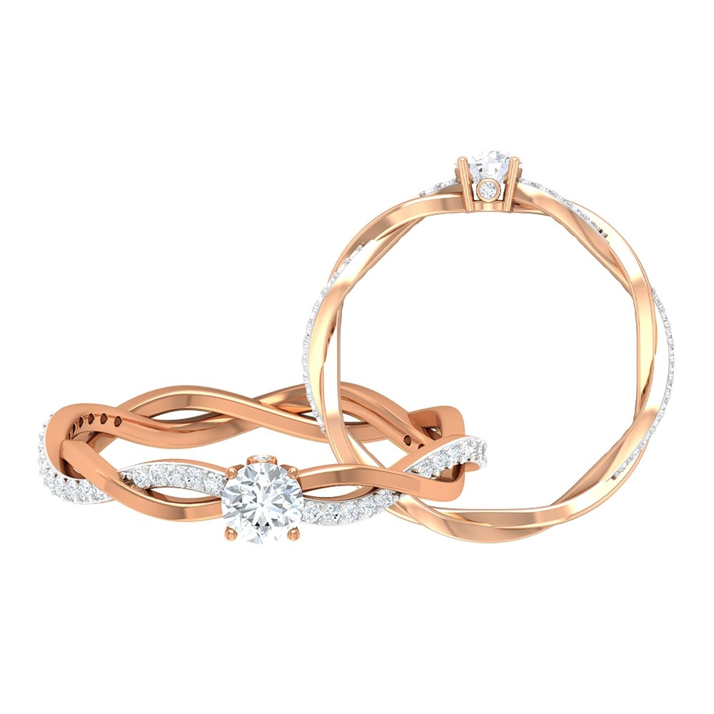 1/2 CT Round Cut Diamond Braided Solitaire Ring in Prong Set with Surprise Diamond