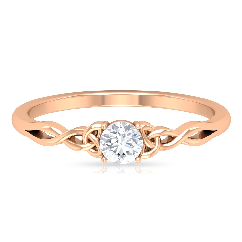 4 MM Round Cut Diamond Solitaire Celtic Ring in 4 Prong Setting