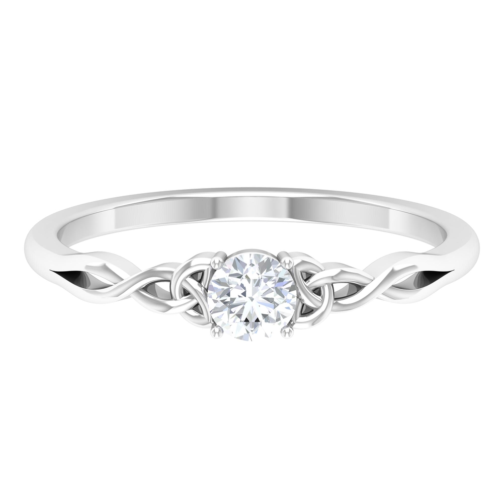 5 MM Round Cut Diamond Solitaire Celtic Ring in 4 Prong Setting