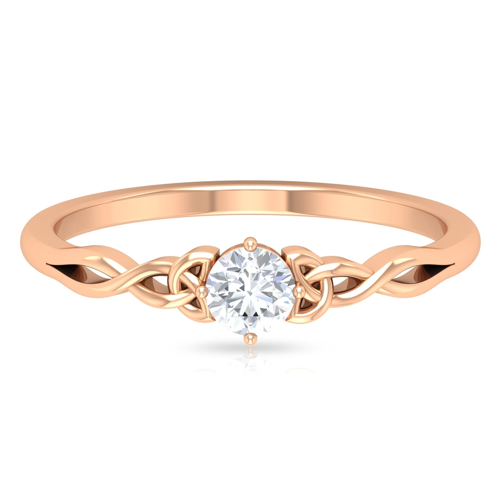 4 MM Round Cut Diamond Solitaire Celtic Ring in Diagonal 4 Prong Setting