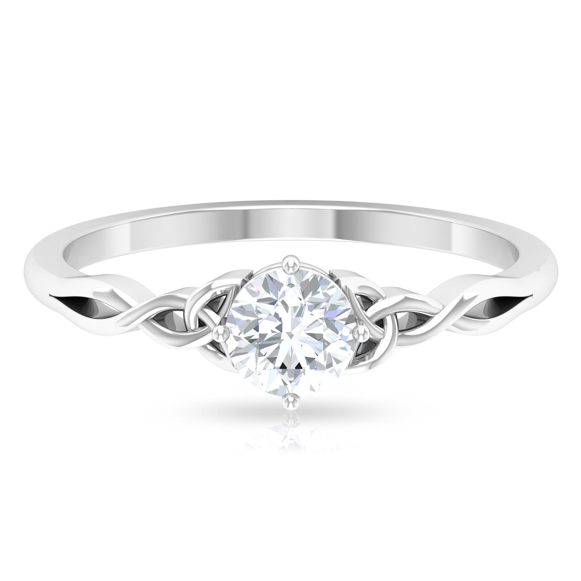 5 MM Round Cut Diamond Solitaire Celtic Ring in Diagonal 4 Prong Setting