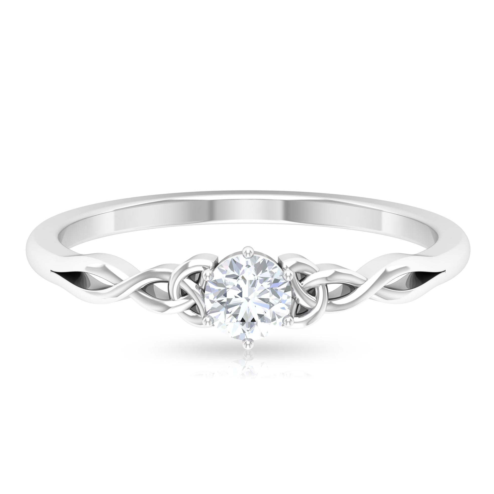 4 MM Round Cut Diamond Solitaire Celtic Ring in 6 Prong Setting