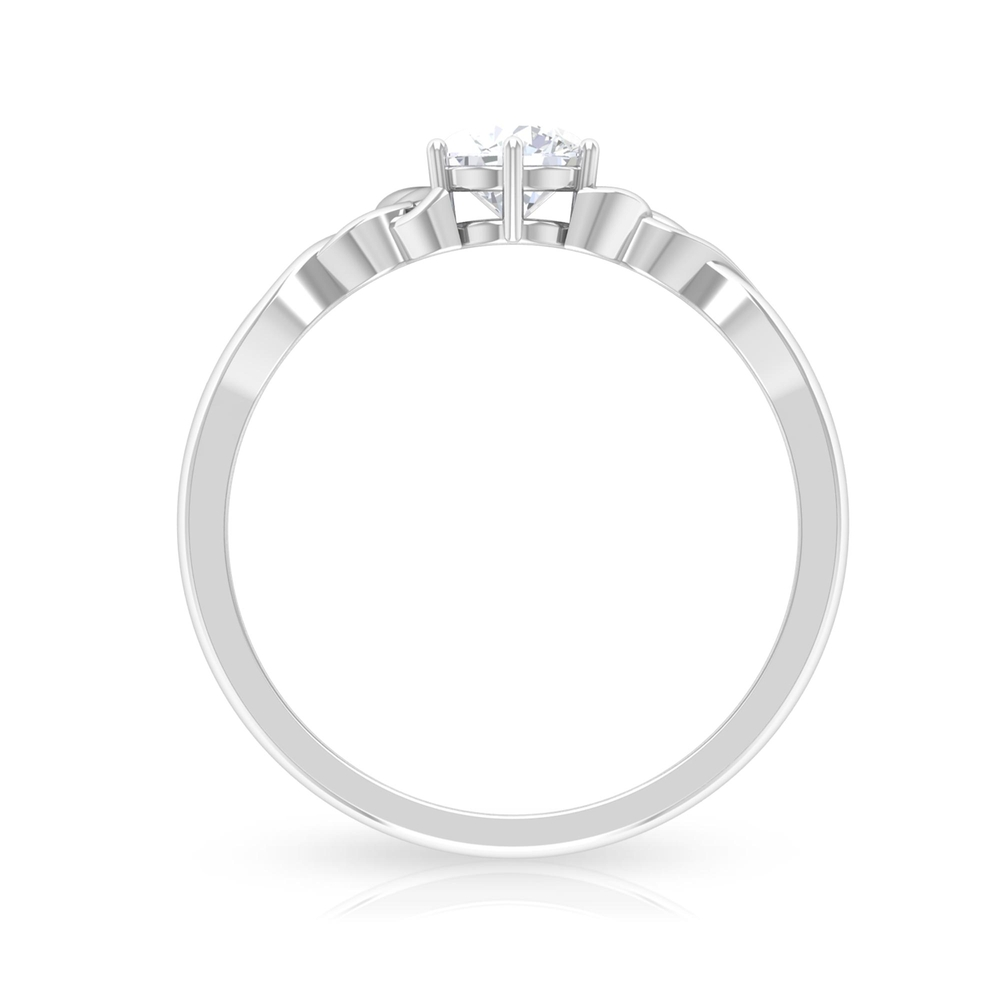 5 MM Round Cut Diamond Solitaire Celtic Ring in 6 Prong Setting