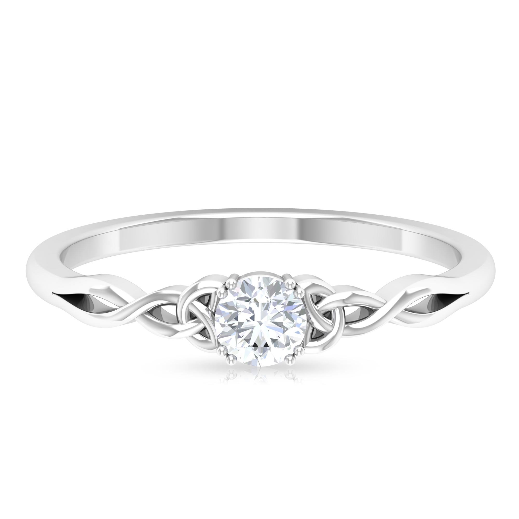 4 MM Round Cut Diamond Solitaire Love Ring in Double Prong Setting