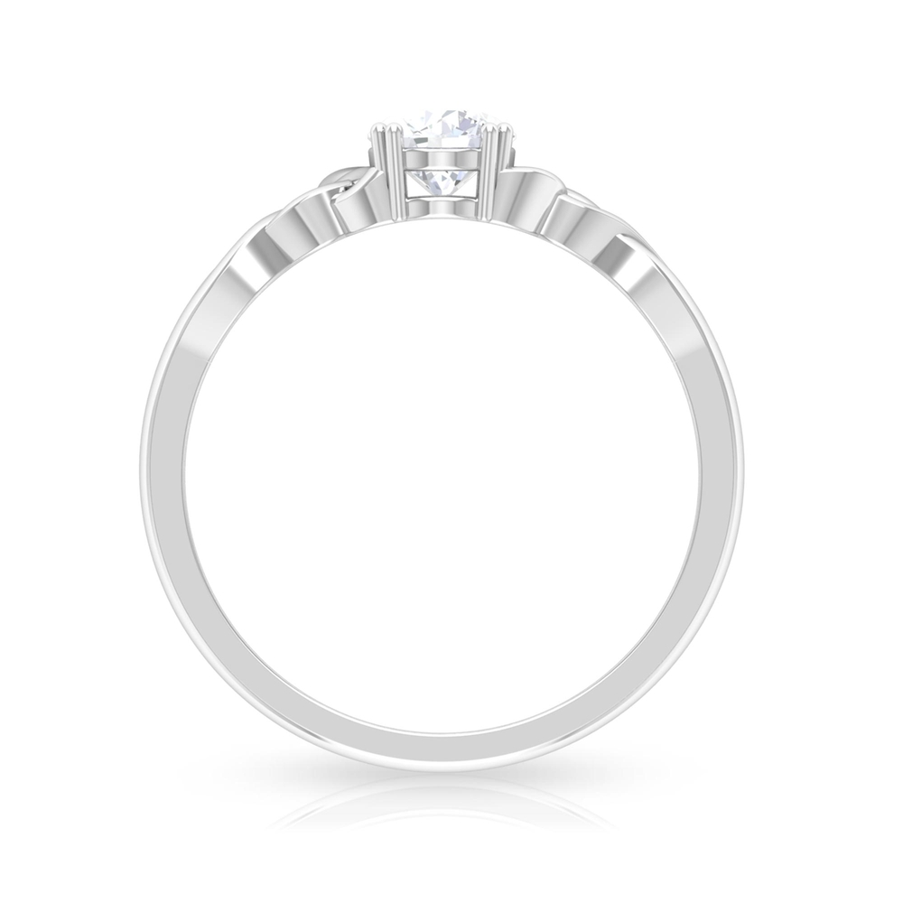 5 MM Round Cut Diamond Solitaire Love Ring in Double Prong Setting