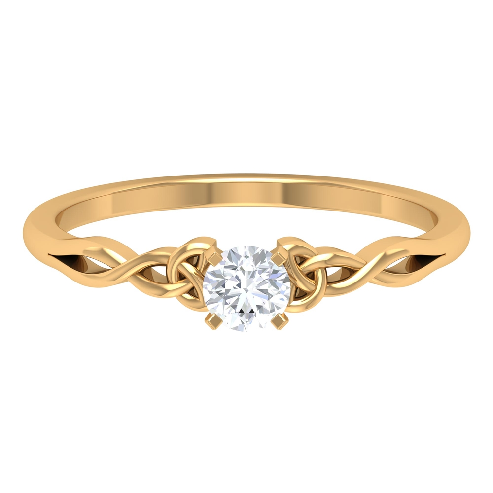 4 MM Round Cut Diamond Solitaire Love Ring in Square Prong Setting