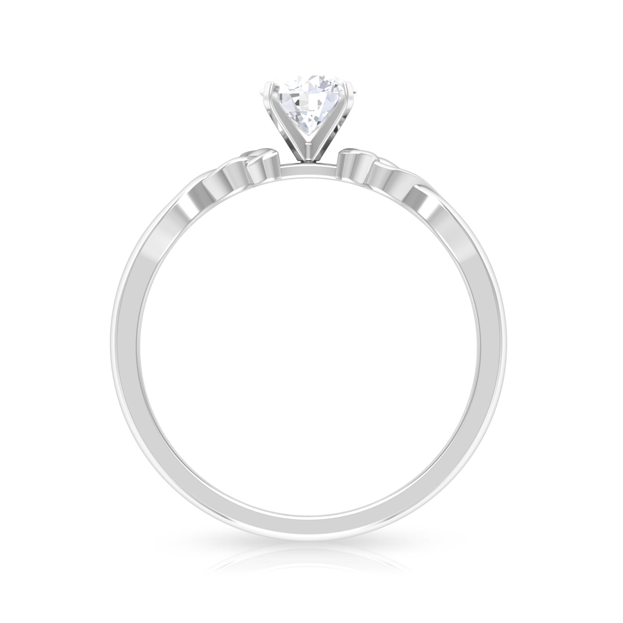 5 MM Round Cut Diamond Solitaire Love Ring in Square Prong Setting