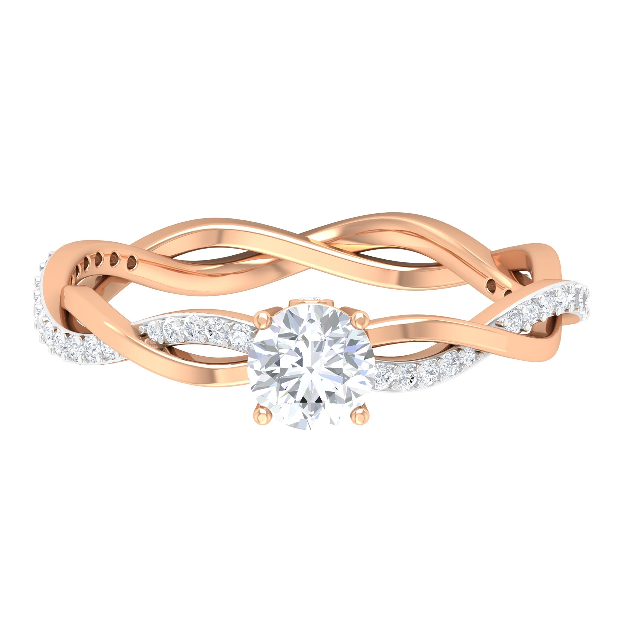 3/4 CT Round Cut Diamond Braided Solitaire Ring in Prong Set with Surprise Diamond