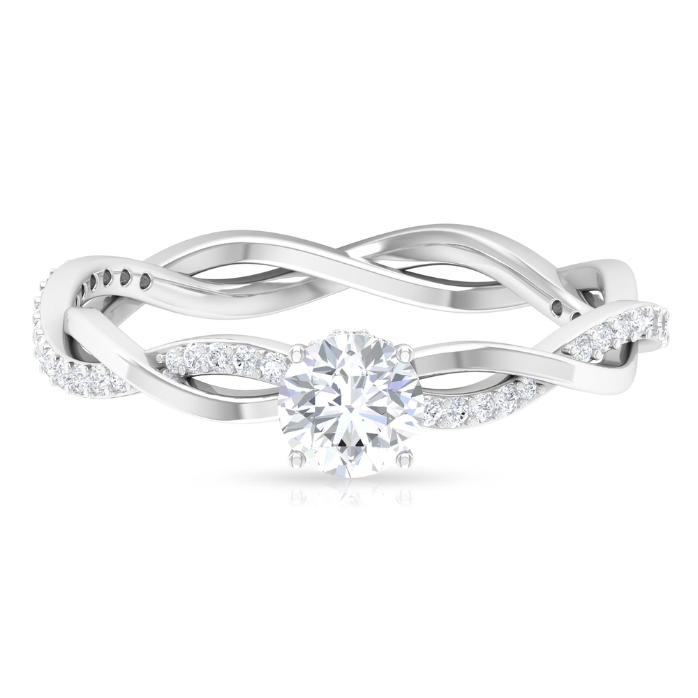 3/4 CT Round Cut Diamond Braided Solitaire Ring in Prong Set with Hidden Halo