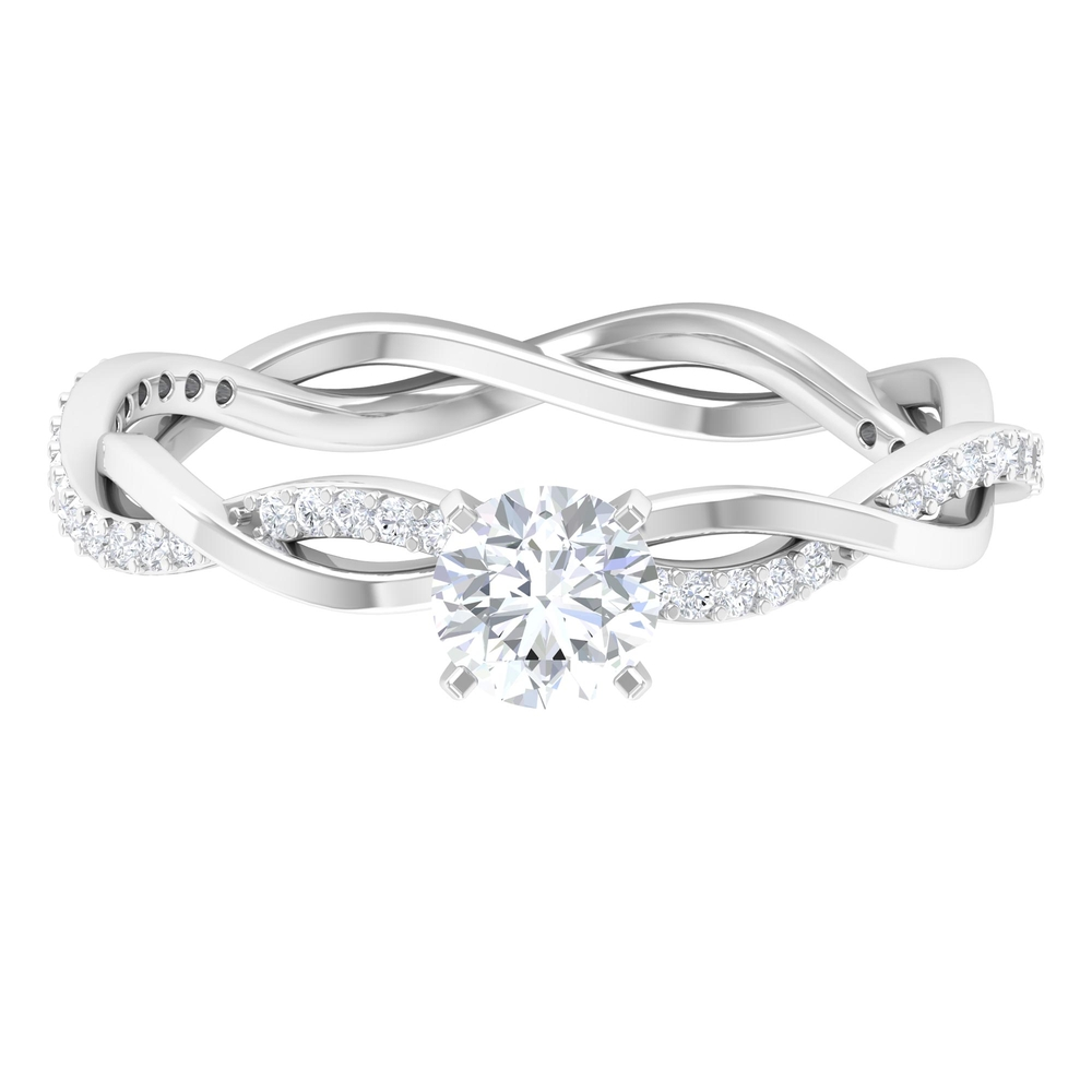 5 MM Round Cut Diamond Solitaire Braided Ring in Square Prong Set