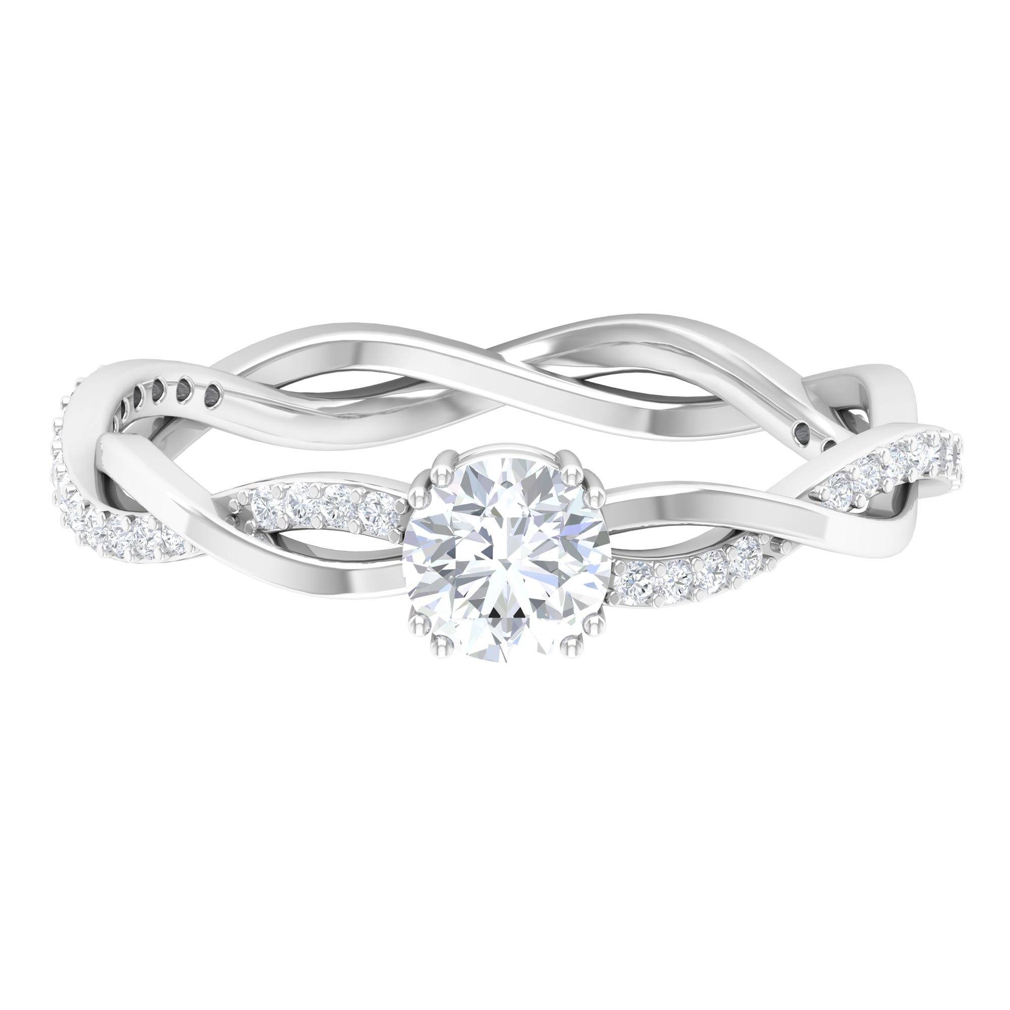 5 MM Round Cut Diamond Solitaire Braided Ring in Double Prong Set