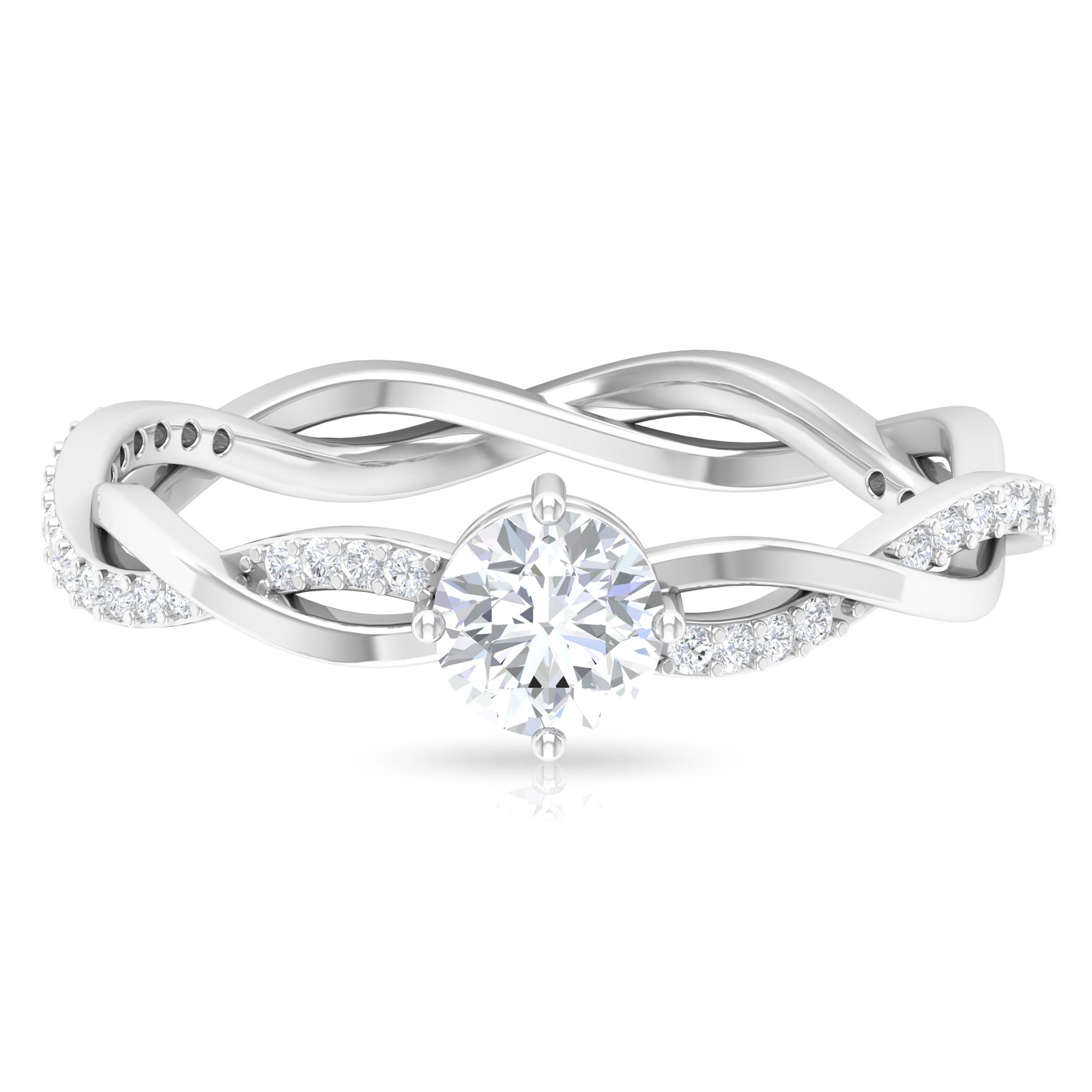 5 MM Round Cut Diamond Solitaire Braided Ring in Diagonal 4 Prong Set