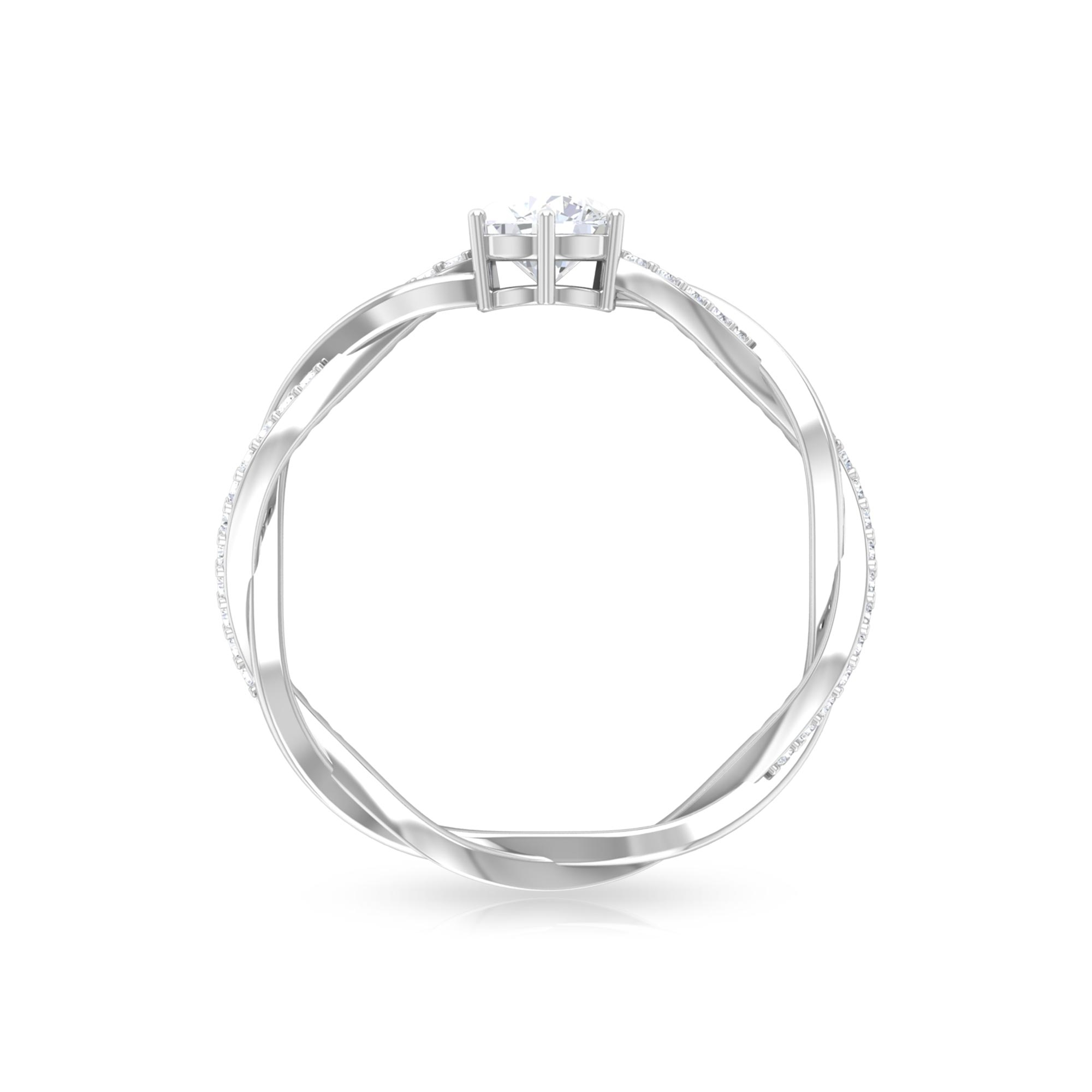 5 MM Round Cut Diamond Solitaire Braided Ring in 6 Prong Set