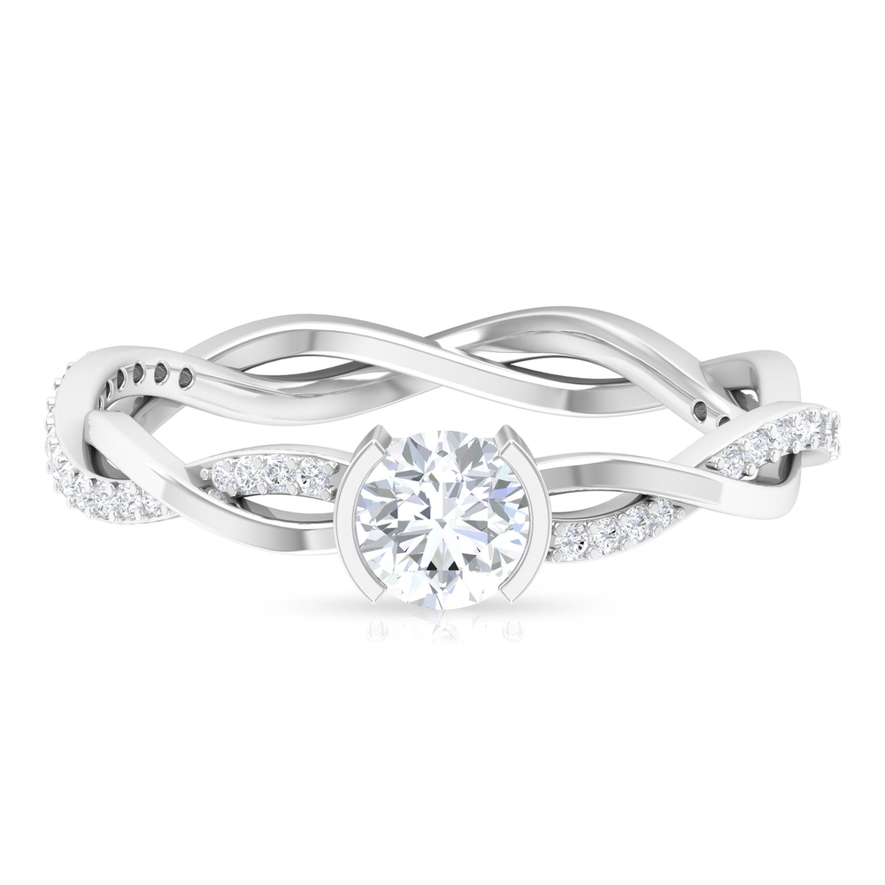 5 MM Round Cut Diamond Solitaire Braided Ring in Half Bezel Setting