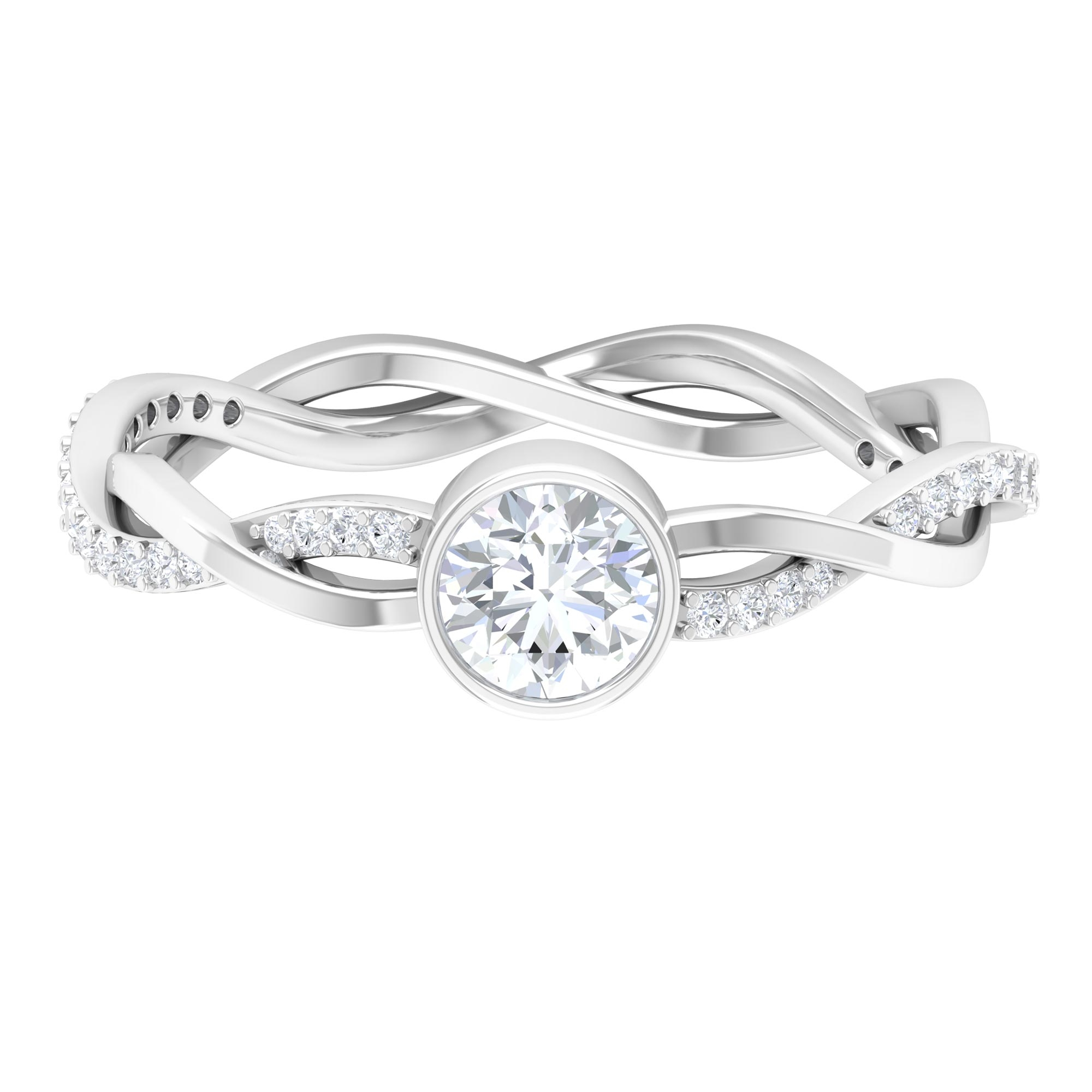5 MM Round Cut Diamond Solitaire Braided Ring in Bezel Setting
