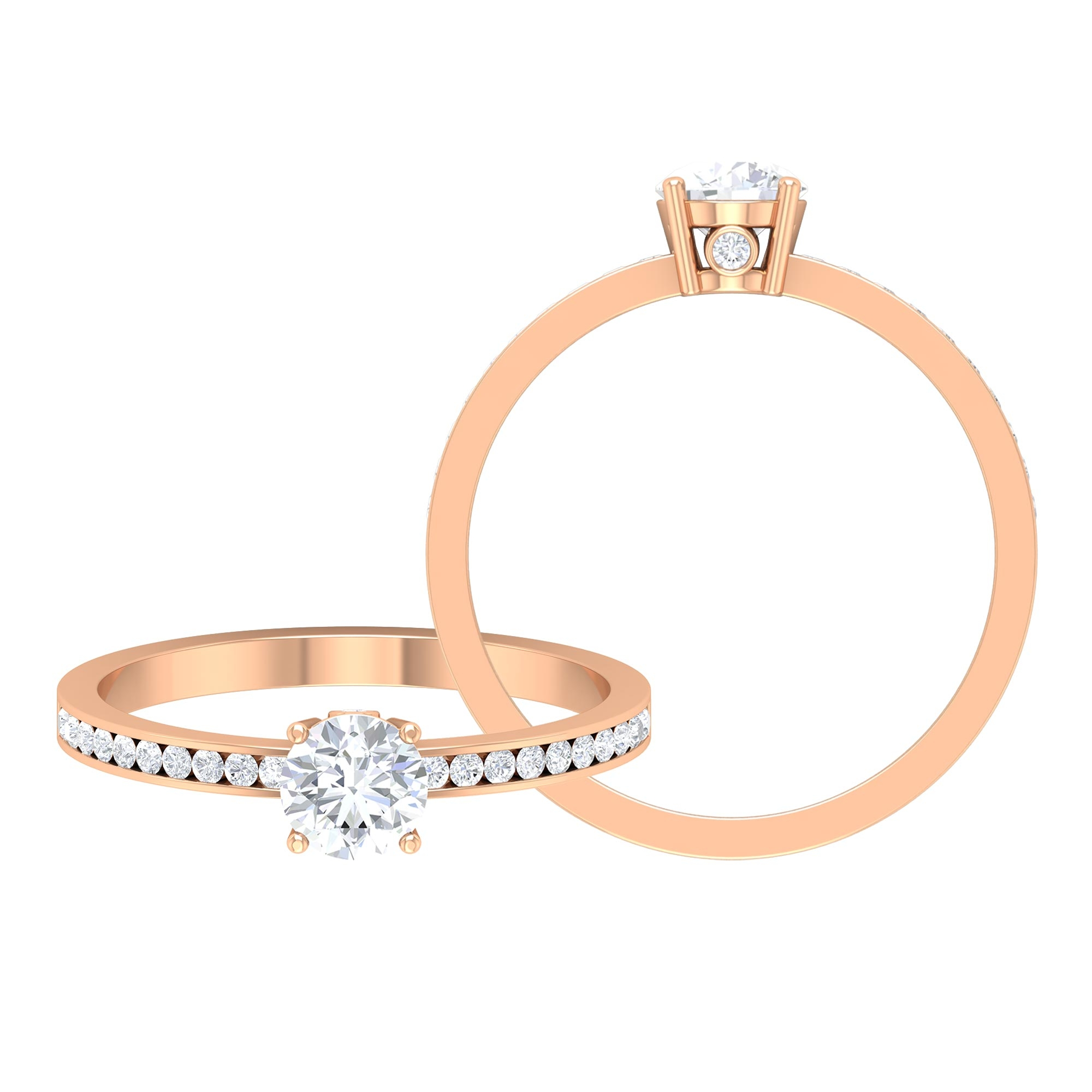 5 CT Round Cut Solitaire Ring in Prong Setting with Hidden Diamond
