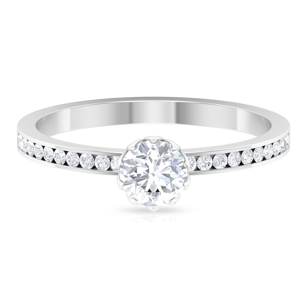 3/4 CT Round Cut Diamond Solitaire Ring in Lotus Basket Setting with Channel Set Side Stones