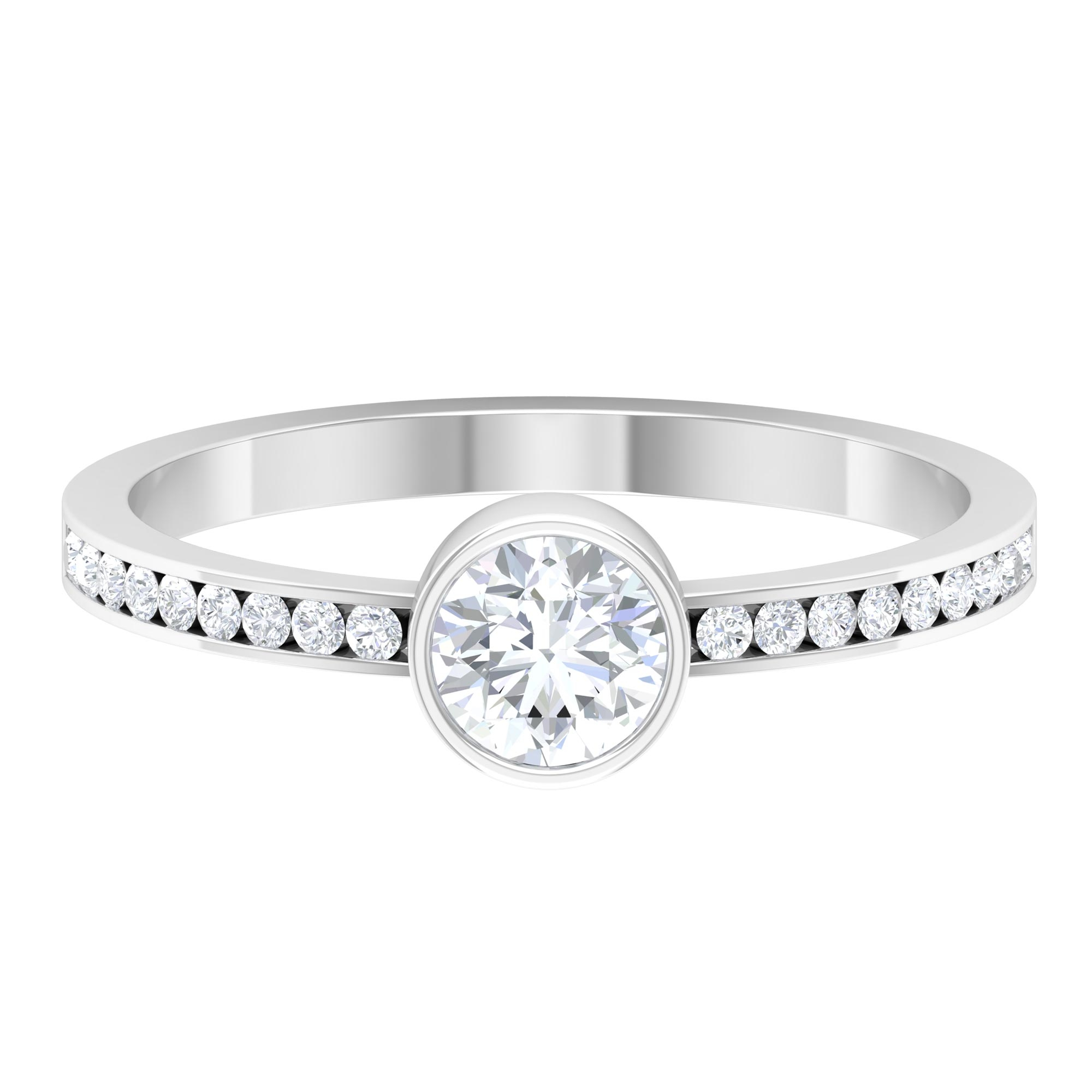 3/4 CT Round Cut Diamond Solitaire Ring in Bezel Setting with Channel Set Side Stones