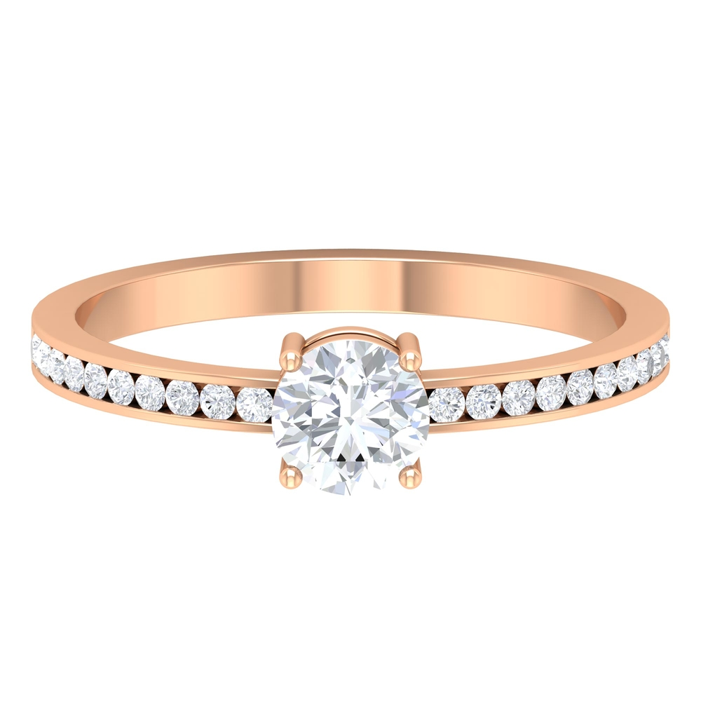 3/4 CT Round Cut Diamond Solitaire Ring in 4 Prong Setting with Channel Set Side Stones