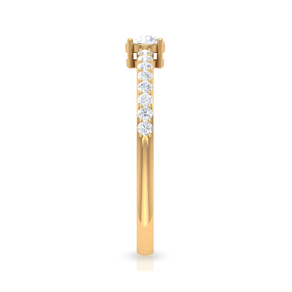 1/2 CT Round Cut Diamond Solitaire Ring in 4 Prong Setting with Surface Side Stones
