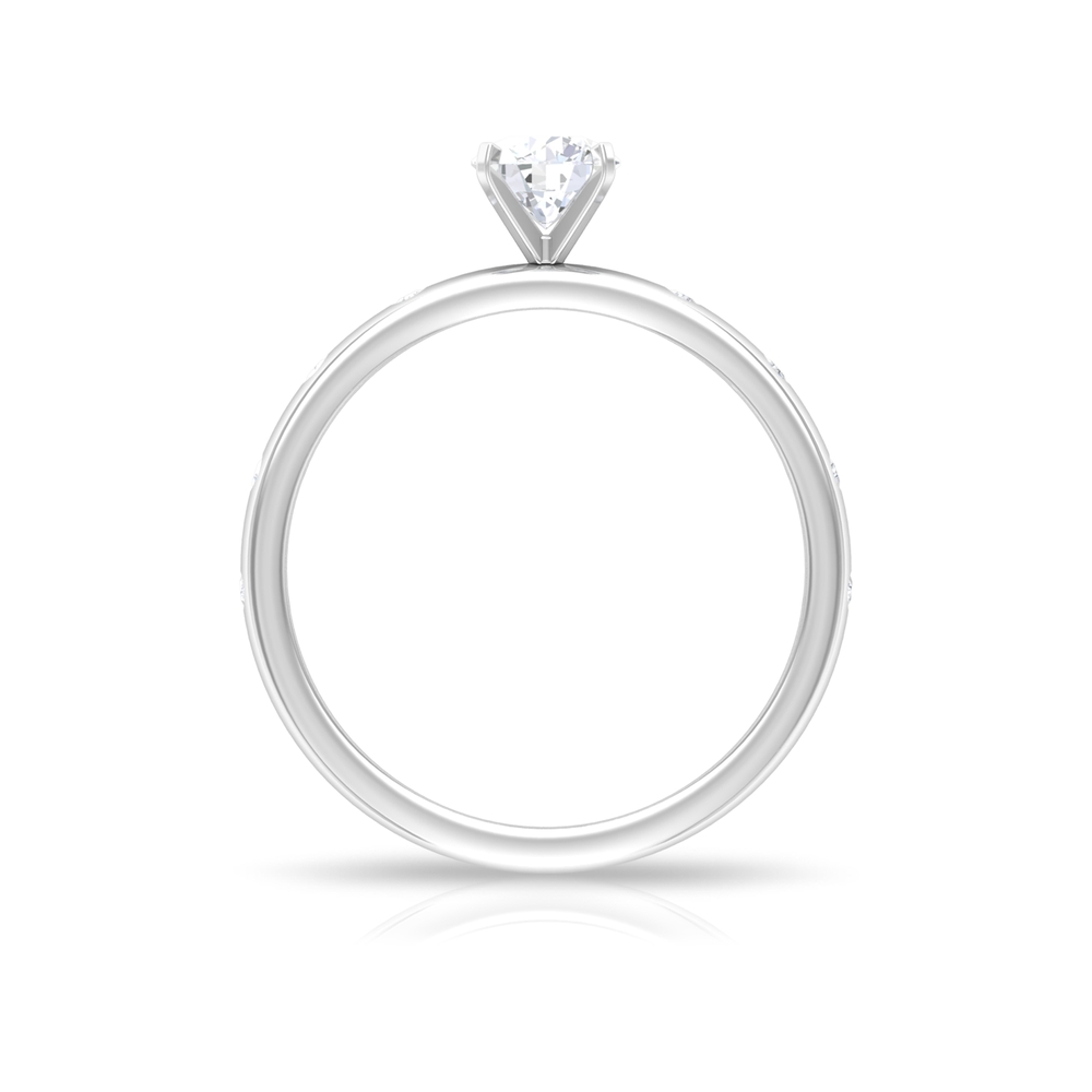 1/2 CT Round Cut Diamond Solitaire Ring in Square Prong Setting with Spaced Set Side Stones
