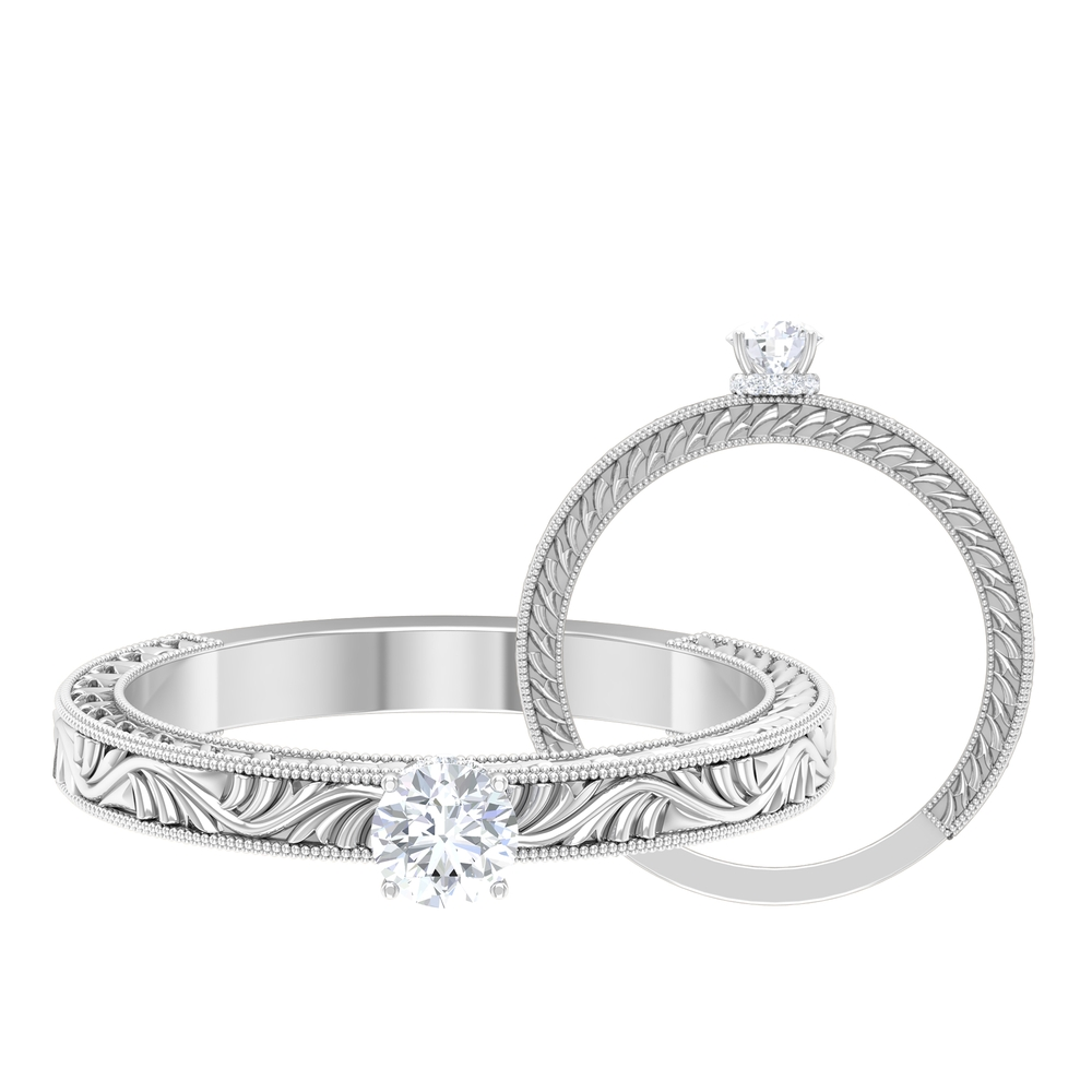 1/4 CT Round Cut Diamond Solitaire Ring with Hidden Halo and Engraved Details