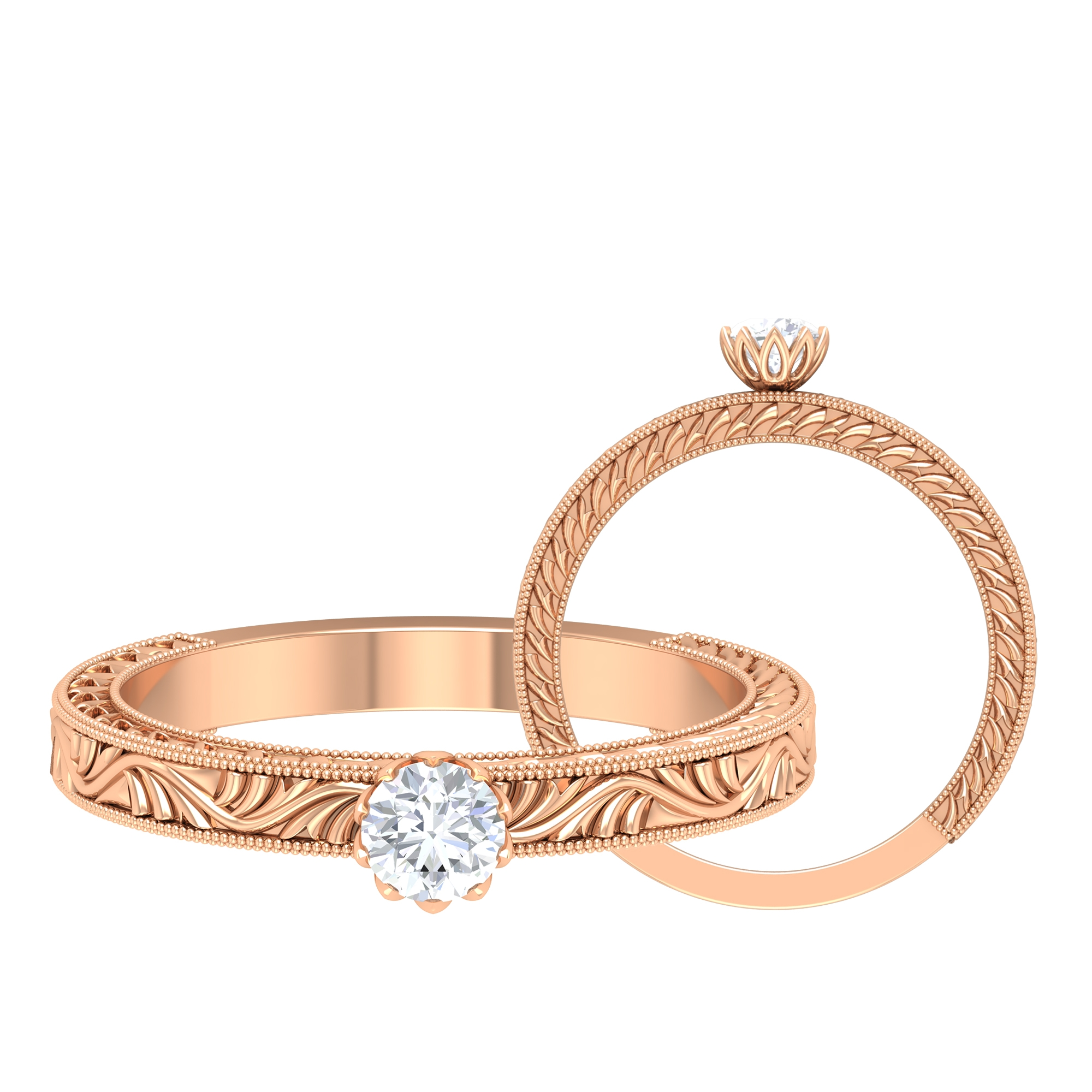 4 MM Round Cut Diamond Solitaire Ring in Lotus Basket Setting with Engraved Details