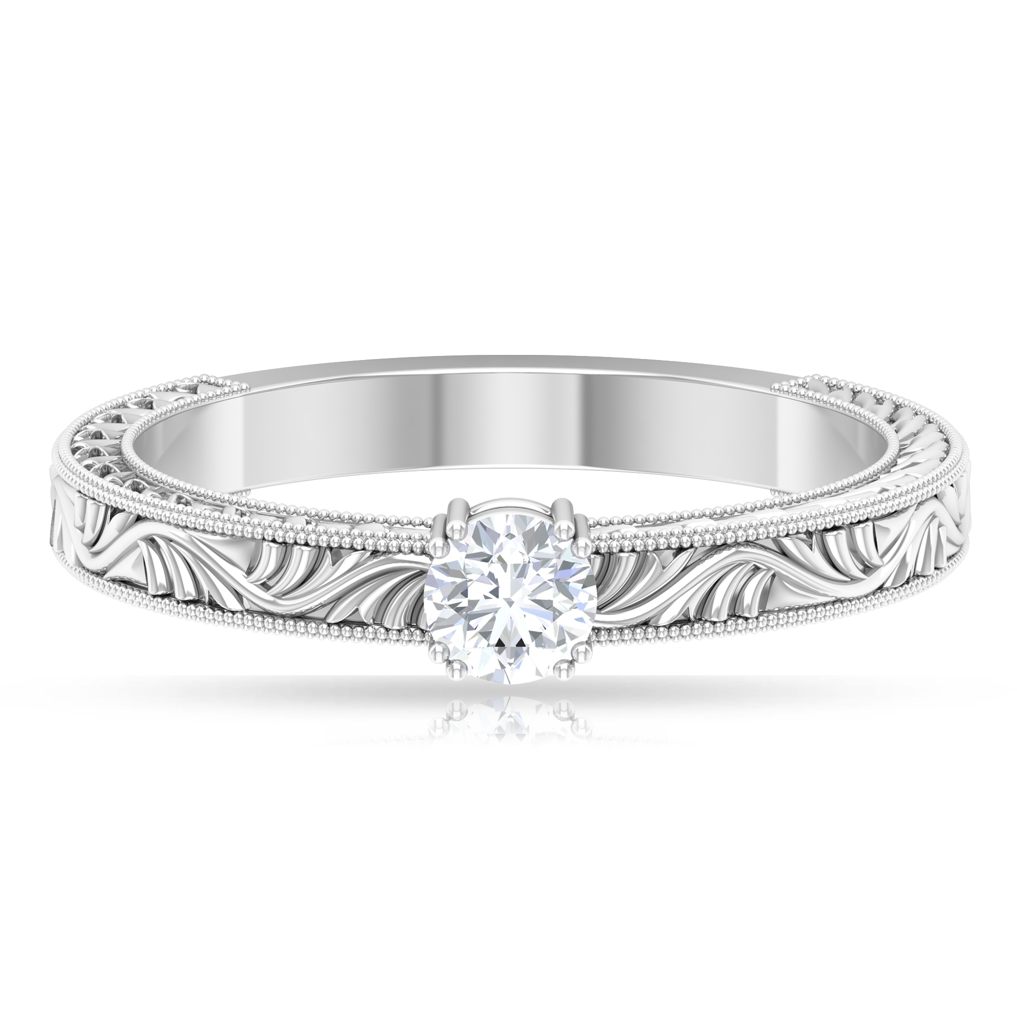 4 MM Round Cut Diamond Solitaire Ring in Double Prong Setting with Engraved Details