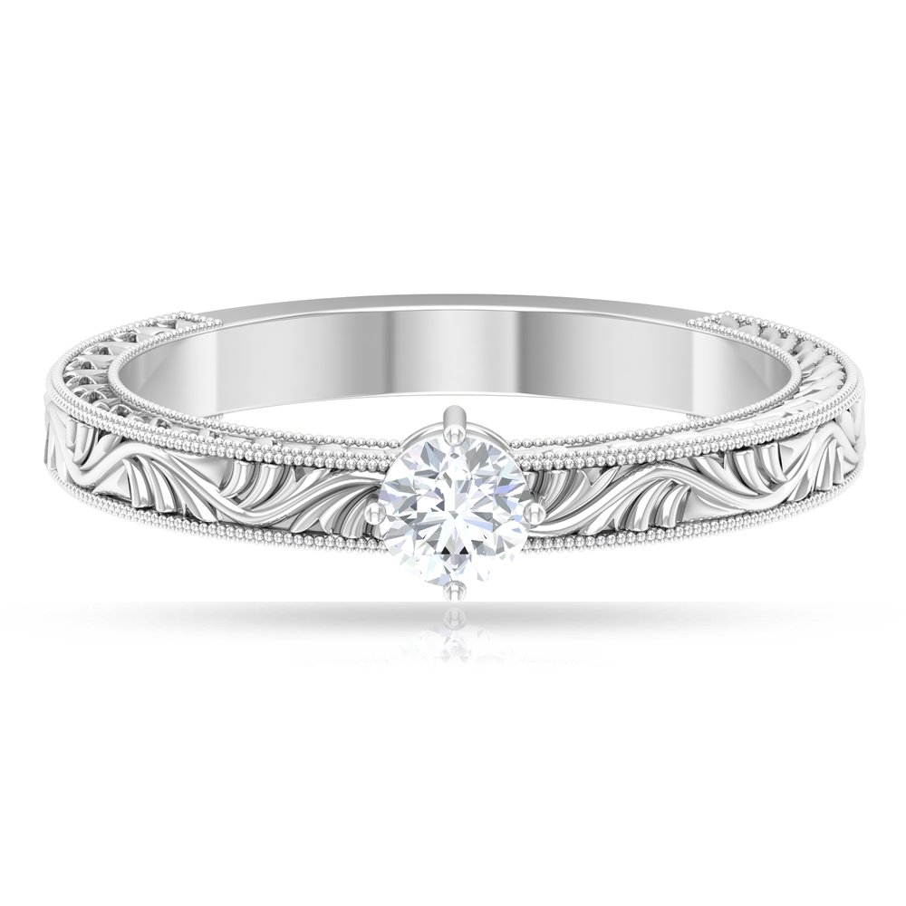 4 MM Round Cut Diamond Solitaire Ring in 4 Prong Diagonal Setting with Engraved Details