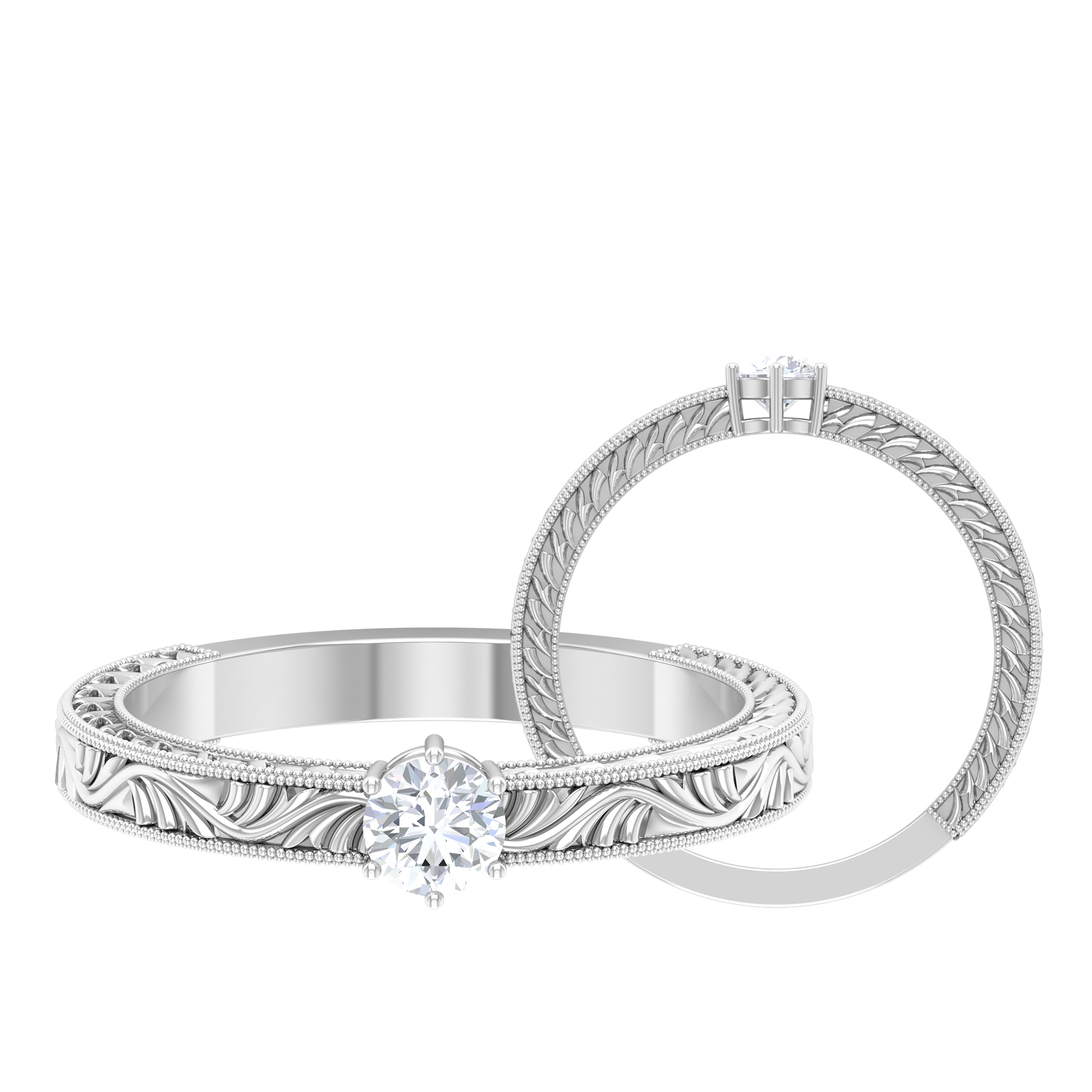 4 MM Round Cut Diamond Solitaire Ring in 6 Prong Setting with Engraved Details