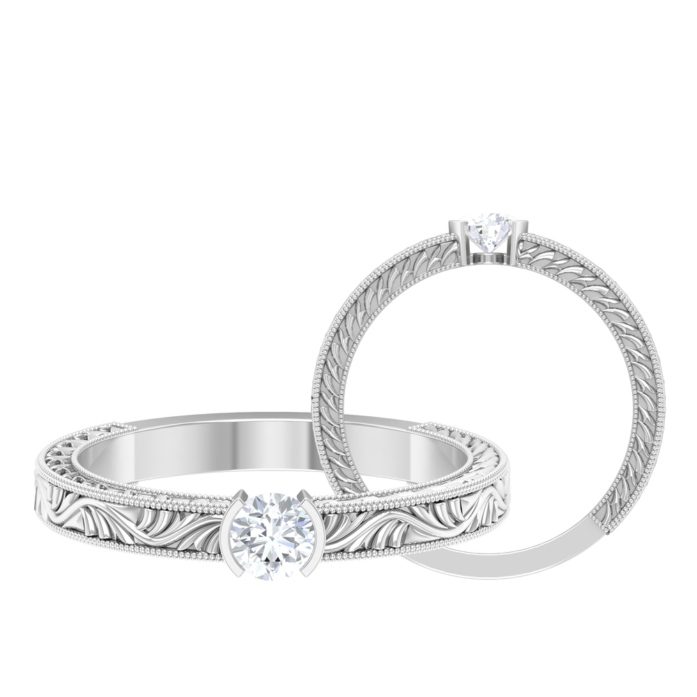 4 MM Round Cut Diamond Solitaire Ring in Half Bezel Setting with Engraved Details