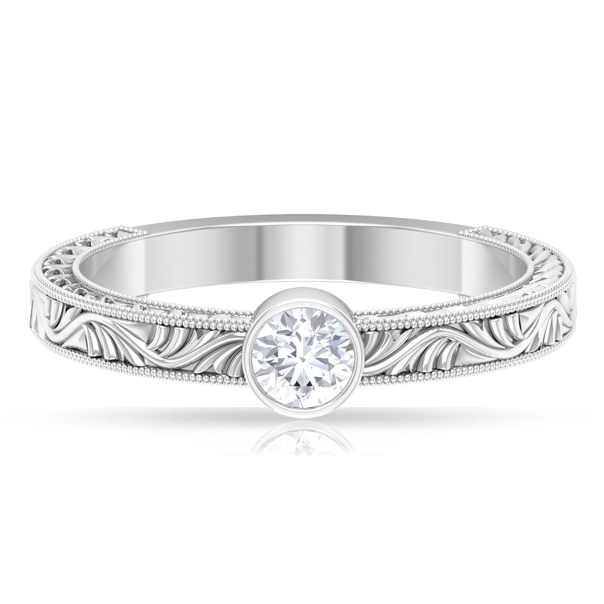 4X4 MM Round Shape Diamond Solitaire Ring in Bezel Setting with Gold Milgrain Engraved Details