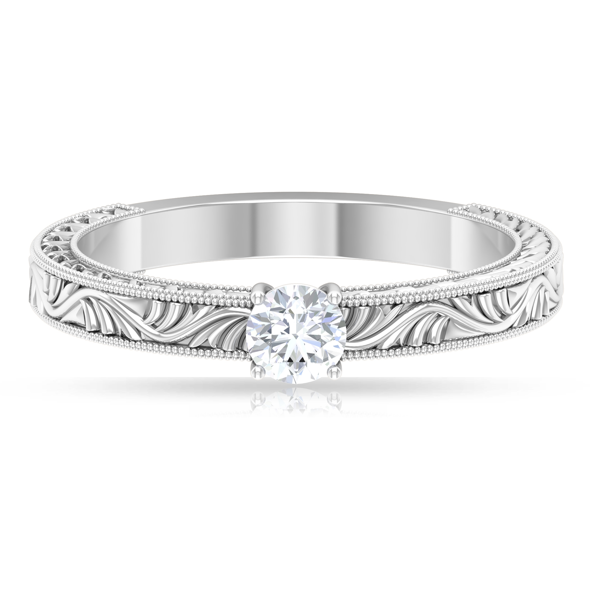 4 MM Round Cut Diamond Solitaire Ring in 4 Prong Setting with Engraved Details