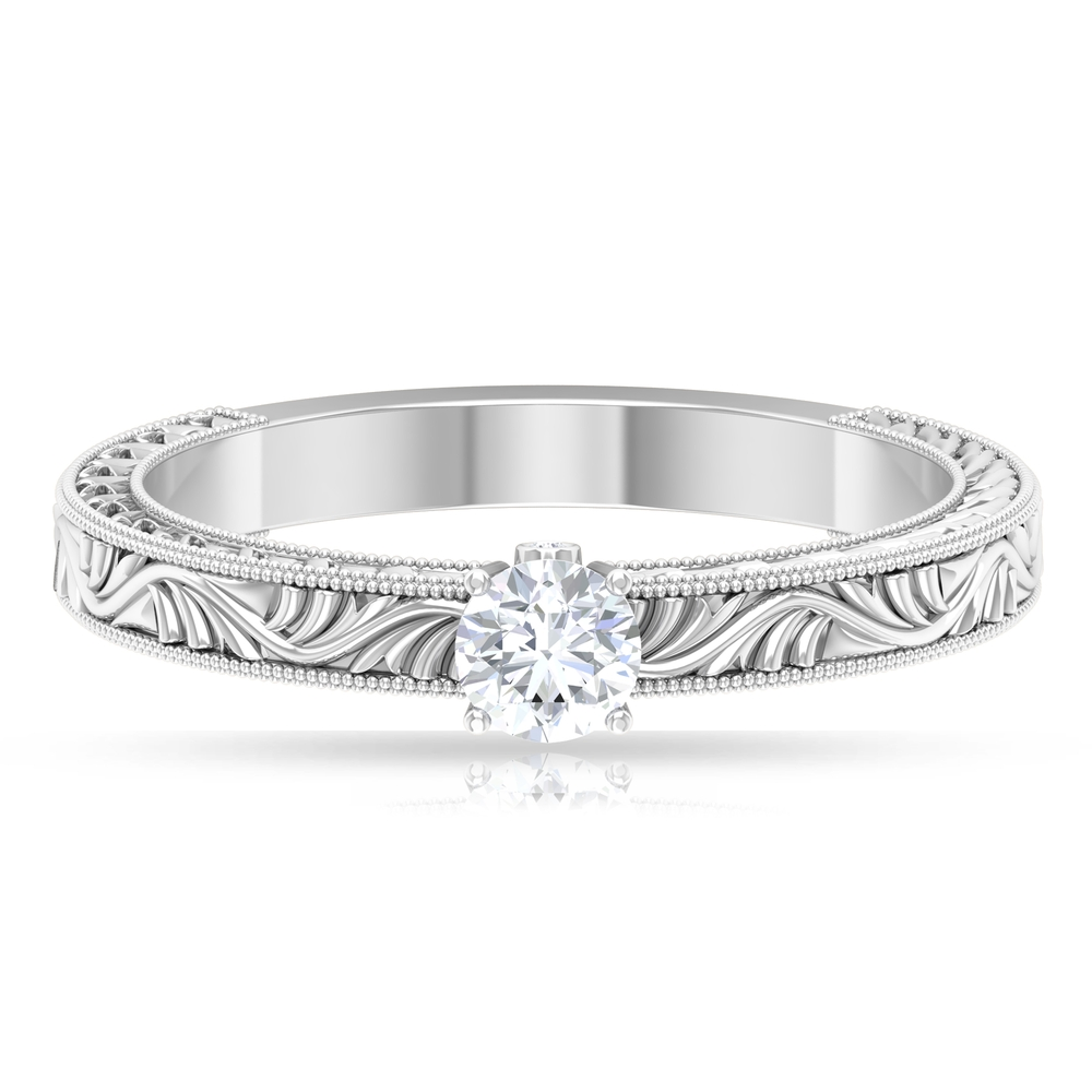 1/4 CT Round Cut Diamond Solitaire Ring in Prong Setting and Surprise Style with Engraved Details