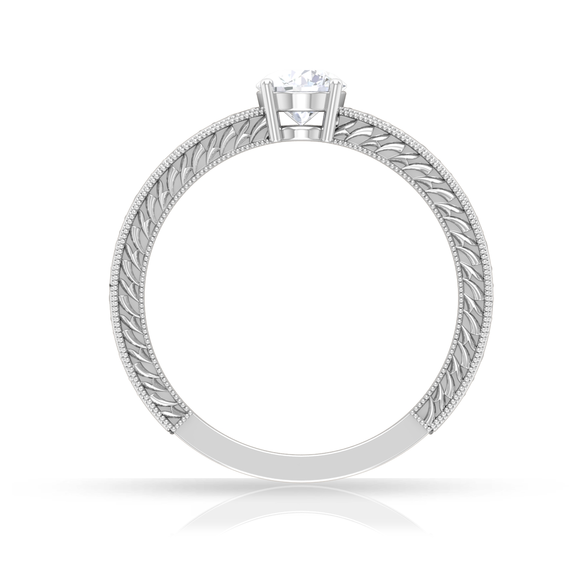 5 MM Round Cut Diamond Solitaire Ring in 4 Prong Setting with Engraved Details
